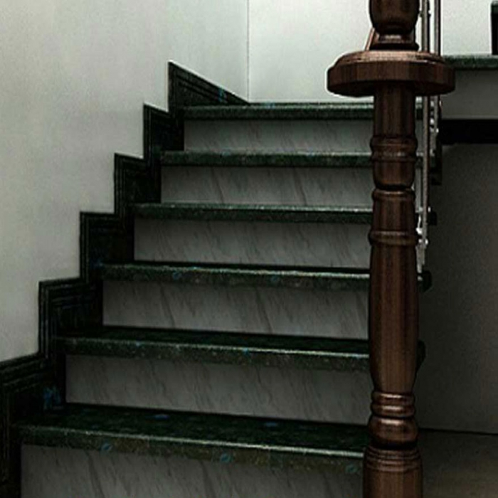 Cầu thang đá hoa cương tự nhiê đen trắng