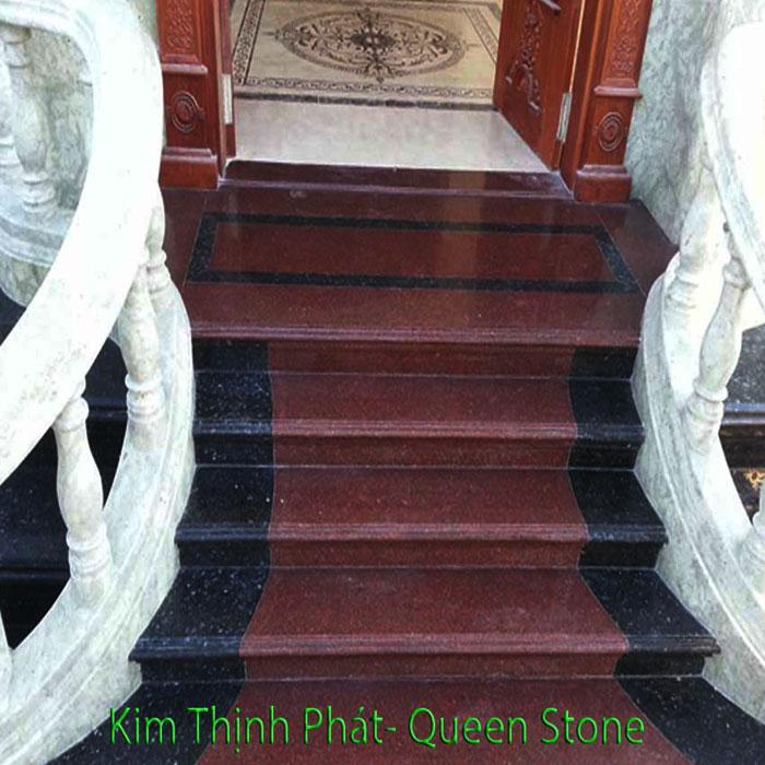 Cầu thang đá hoa cương tự nhiên đỏ đen