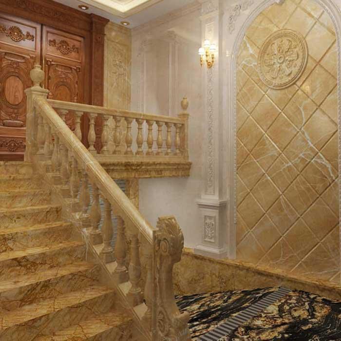 Cầu thang đá hoa cương vàng hoàng gia f5
