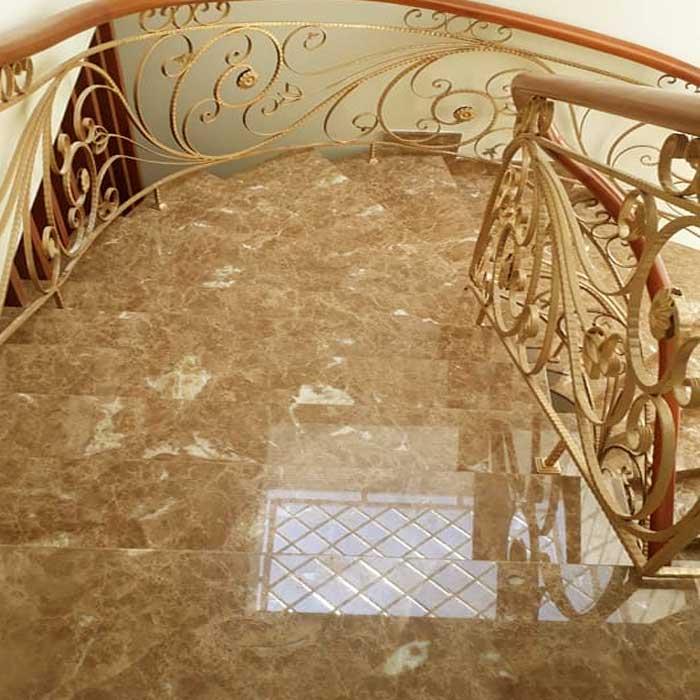 Cầu thang đá hoa cương vàng nâu tây ban nha f1