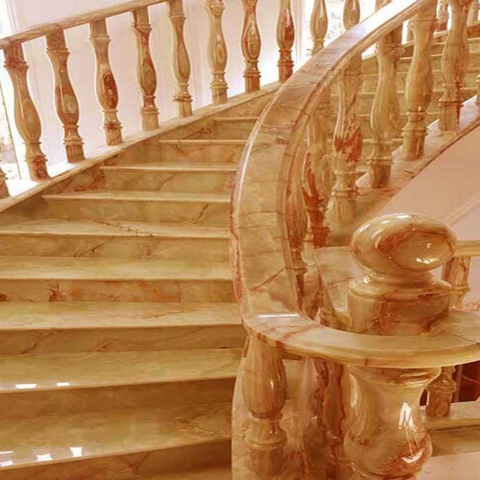 cầu thang đá hoa cương vàng onyx f4
