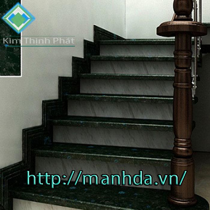 Cầu thang đá hoa cương xà cừ xanh đen